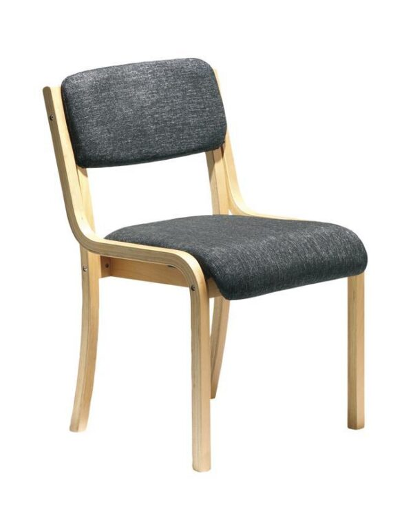 Prague wooden conference chair with no arms - charcoal - Furniture