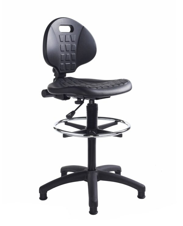 Prema polyurethane industrial operator chair with contoured back support - black - Furniture