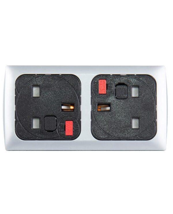 Proton panel mounted power module 2 x UK sockets - silver/black - Furniture