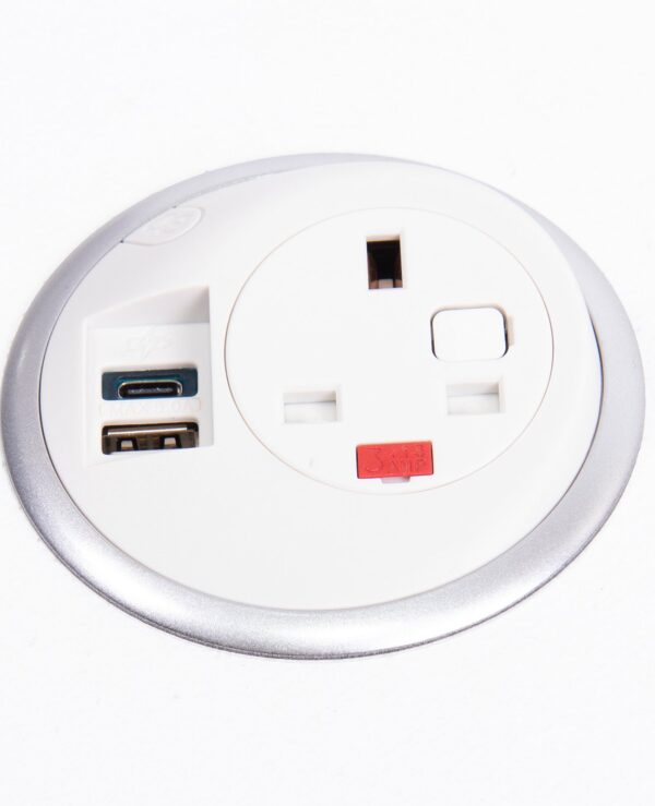 Pixel in-surface power module 1 x UK socket, 1 x TUF (A&C connectors) USB charger - white - Furniture