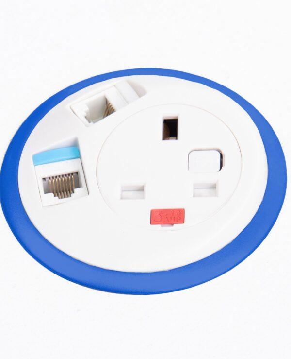 Pixel in-surface power module with 1 x UK socket, 2 x RJ45 sockets - dark blue - Furniture