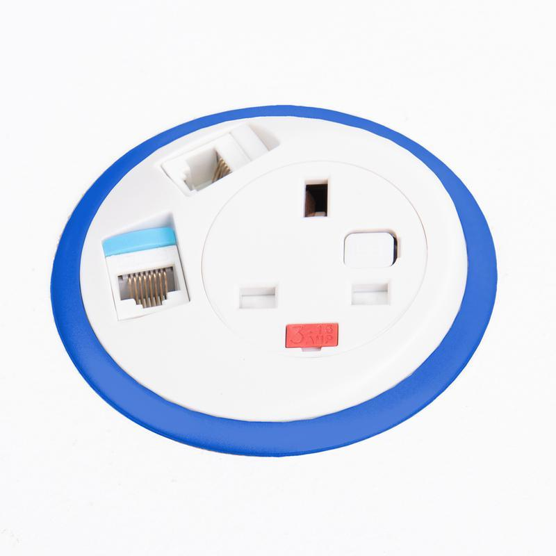 Pixel in-surface power module with 1 x UK socket, 2 x RJ45 sockets - hot pink - Furniture