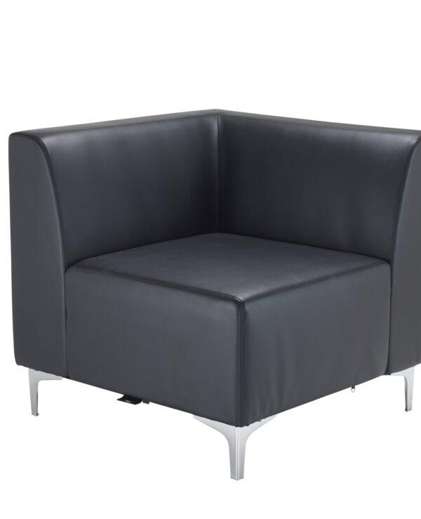 Quatro leather modular reception seating corner unit with backs - black - Furniture