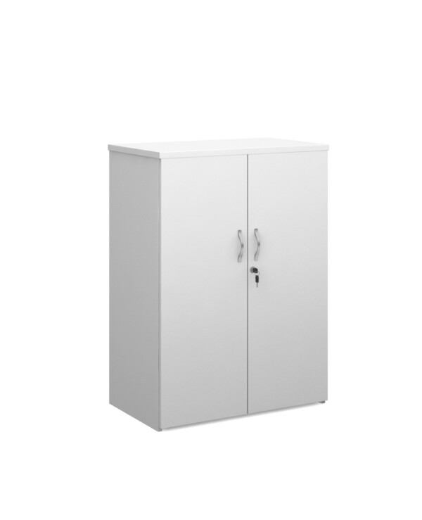 Duo double door cupboard 1090mm high with 2 shelves - white - Furniture