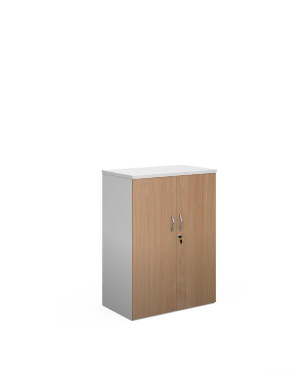 Duo double door cupboard 1090mm high with 2 shelves - white with beech doors - Furniture