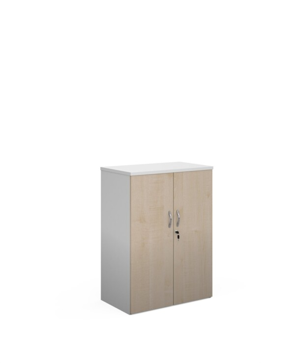 Duo double door cupboard 1090mm high with 2 shelves - white with maple doors - Furniture