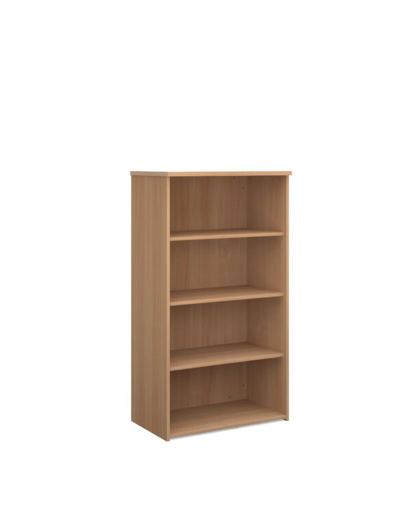 Universal bookcase 1440mm high with 3 shelves - beech - Furniture