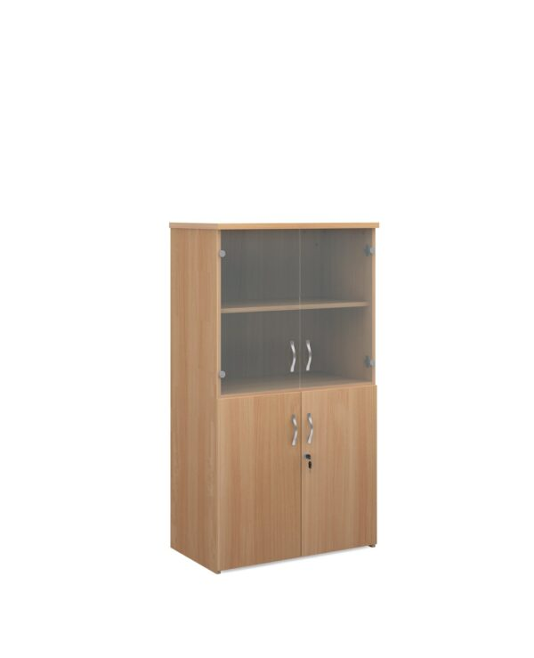 Universal combination unit with glass upper doors 1440mm high with 3 shelves - beech - Furniture