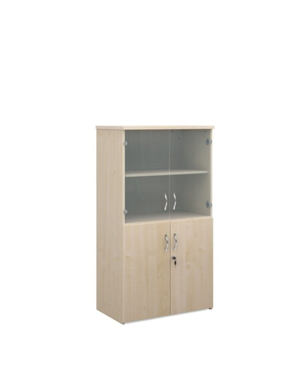 Universal combination unit with glass upper doors 1440mm high with 3 shelves - maple - Furniture