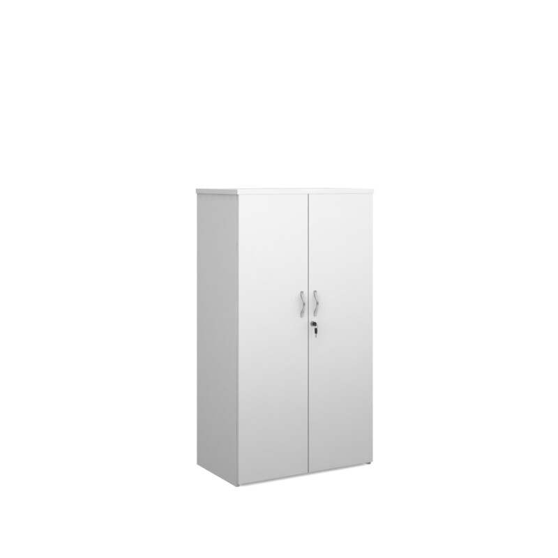 Duo double door cupboard 1440mm high with 3 shelves - white - Furniture