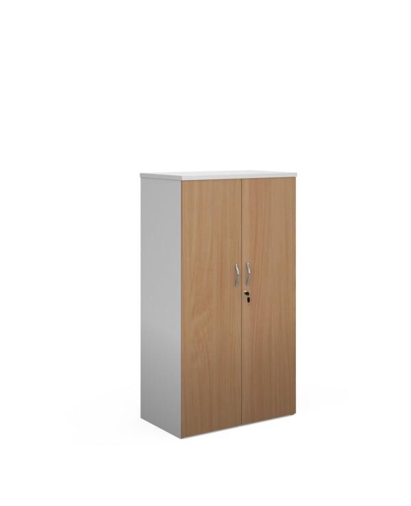 Duo double door cupboard 1440mm high with 3 shelves - white with beech doors - Furniture