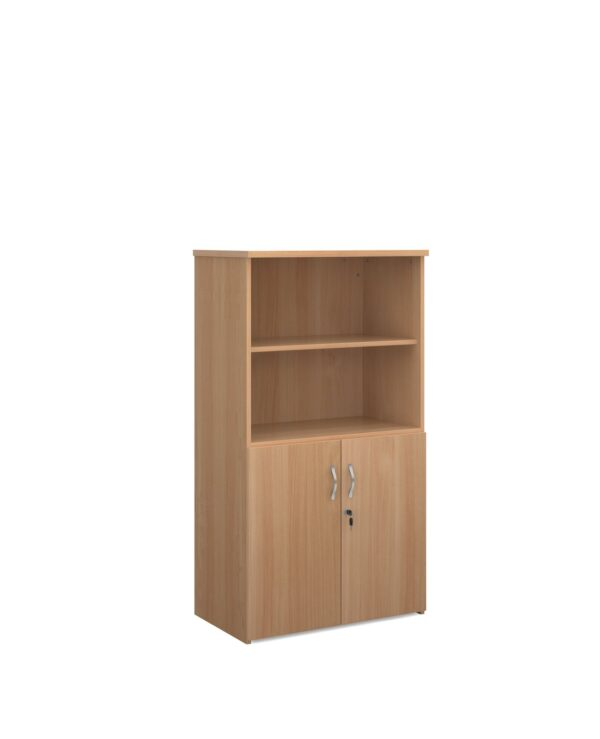Universal combination unit with open top 1440mm high with 3 shelves - beech - Furniture