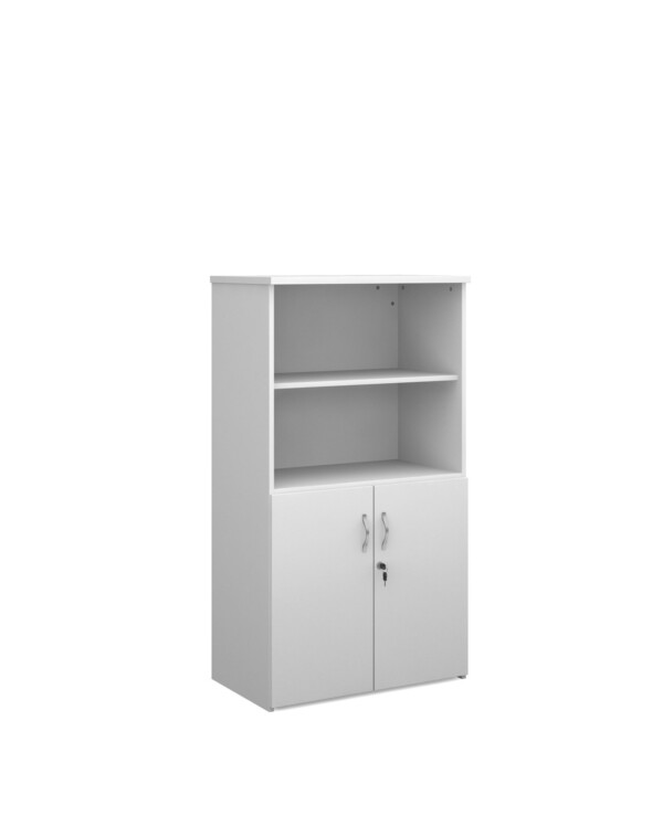 Duo combination unit with open top 1440mm high with 3 shelves - white - Furniture