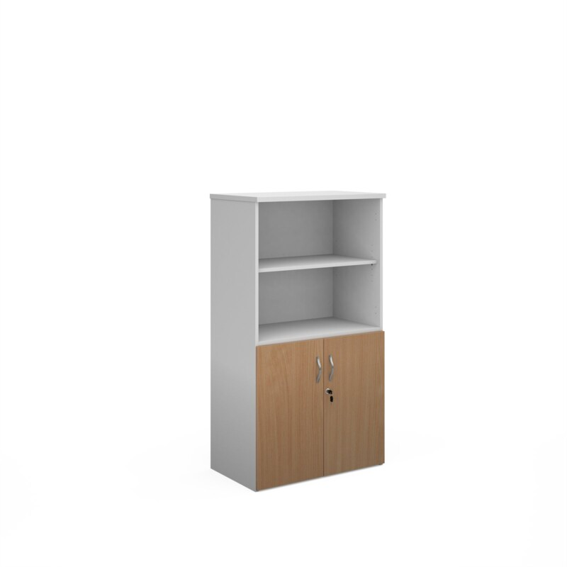 Duo combination unit with open top 1440mm high with 3 shelves - white with beech lower doors - Furniture