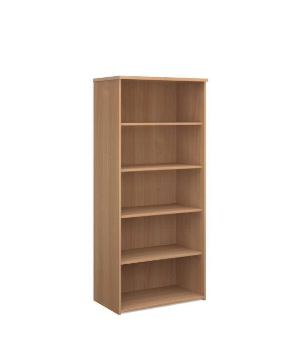 Universal bookcase 1790mm high with 4 shelves - beech - Furniture