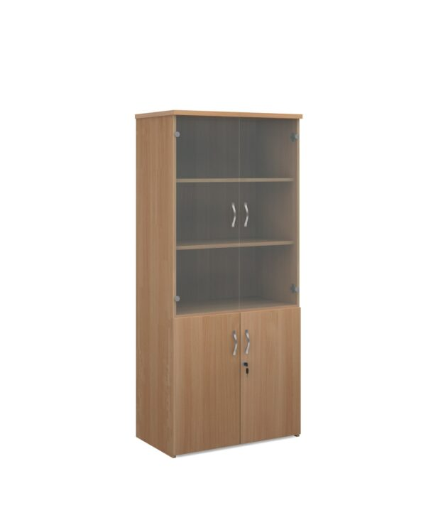 Universal combination unit with glass upper doors 1790mm high with 4 shelves - beech - Furniture
