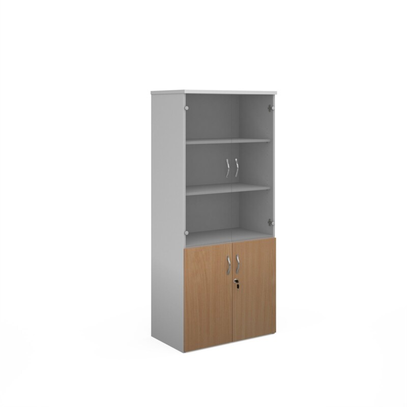 Duo combination unit with glass upper doors 1790mm high with 4 shelves - white with beech lower doors - Furniture