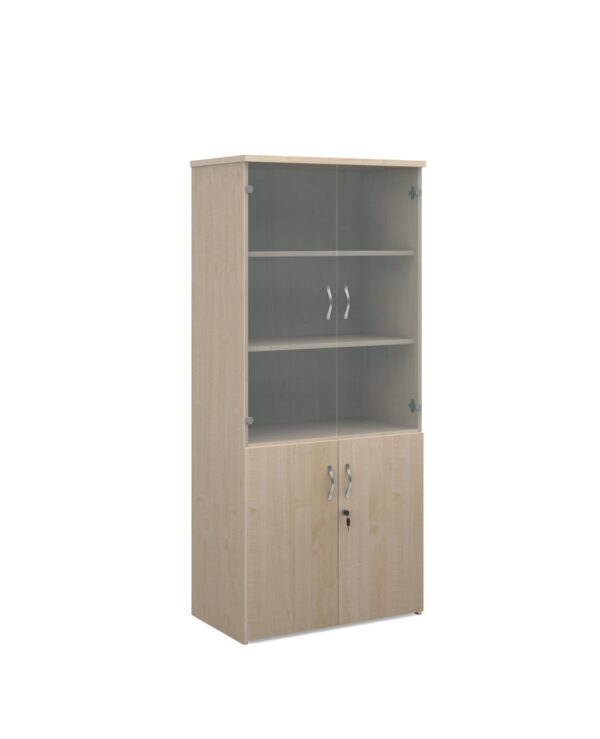 Universal combination unit with glass upper doors 1790mm high with 4 shelves - maple - Furniture