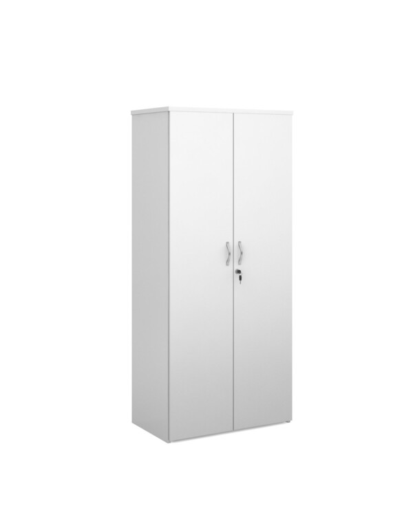 Duo double door cupboard 1790mm high with 4 shelves - white - Furniture