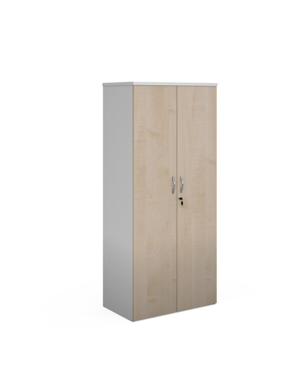 Duo double door cupboard 1790mm high with 4 shelves - white with maple doors - Furniture