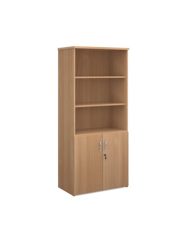 Universal combination unit with open top 1790mm high with 4 shelves - beech - Furniture
