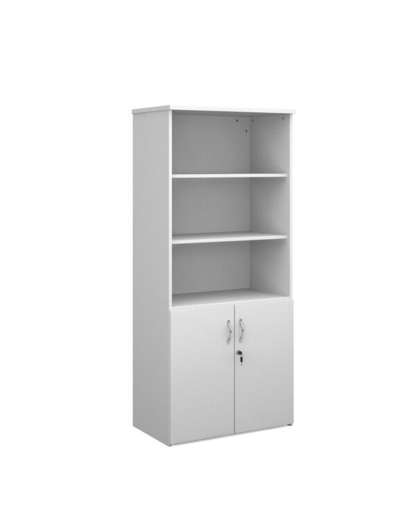 Duo combination unit with open top 1790mm high with 4 shelves - white - Furniture