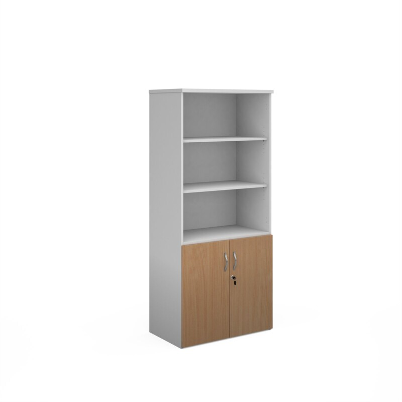 Duo combination unit with open top 1790mm high with 4 shelves - white with beech lower doors - Furniture