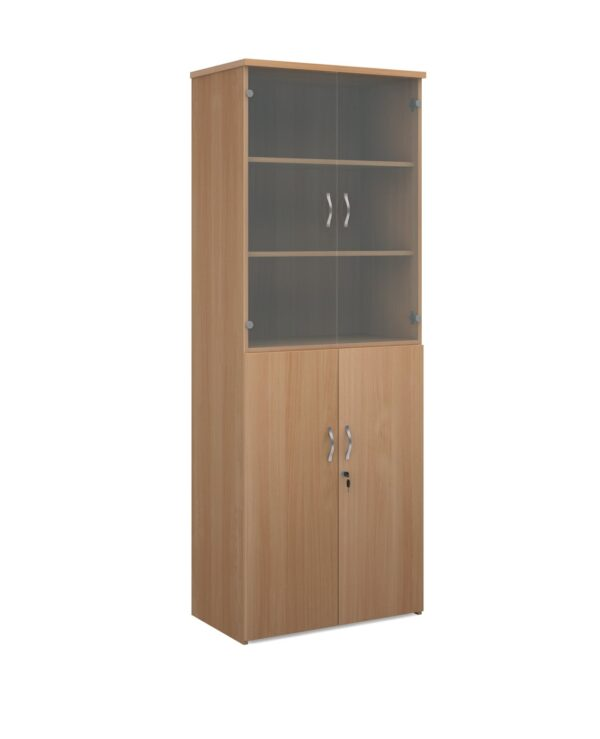 Universal combination unit with glass upper doors 2140mm high with 5 shelves - beech - Furniture