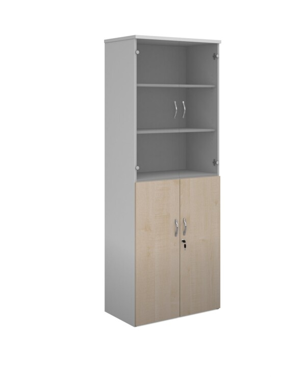 Duo combination unit with glass upper doors 2140mm high with 5 shelves - white with maple lower doors - Furniture