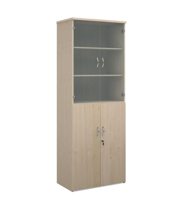 Universal combination unit with glass upper doors 2140mm high with 5 shelves - maple - Furniture