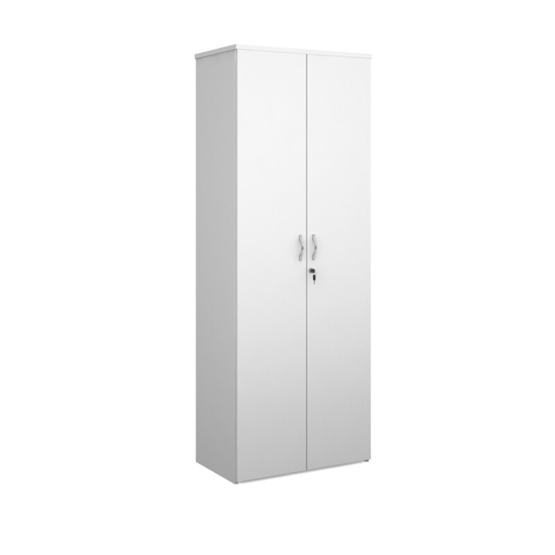 Duo double door cupboard 2140mm high with 5 shelves - white - Furniture