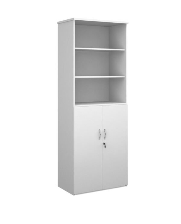 Duo combination unit with open top 2140mm high with 5 shelves - white - Furniture