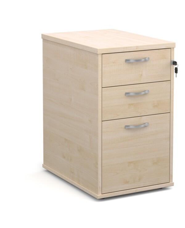 Desk high 3 drawer pedestal with silver handles 600mm deep - maple - Furniture