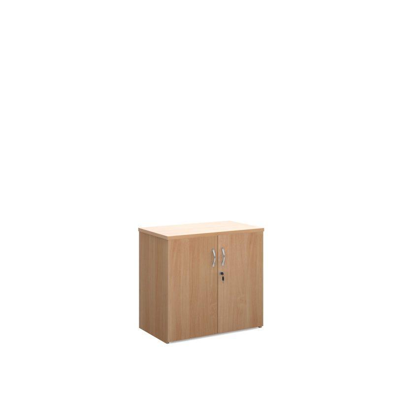 Universal double door cupboard 740mm high with 1 shelf - beech - Furniture