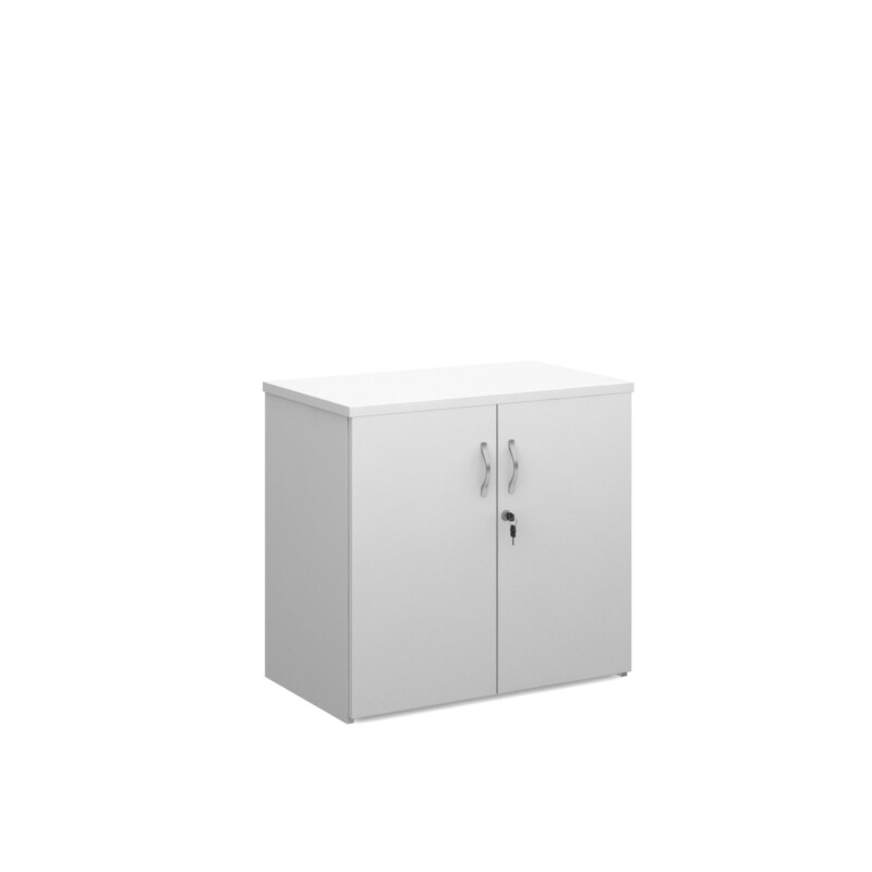 Duo double door cupboard 740mm high with 1 shelf - white - Furniture