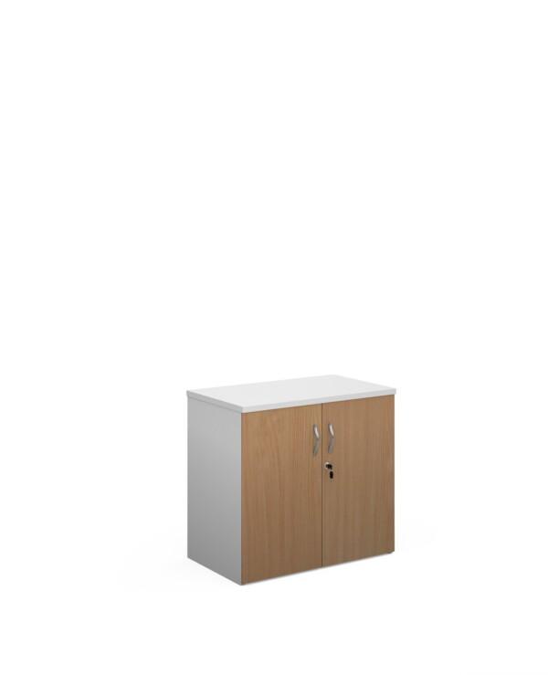 Duo double door cupboard 740mm high with 1 shelf - white with beech doors - Furniture