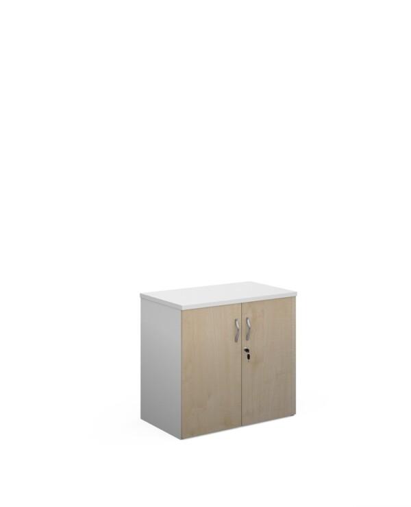 Duo double door cupboard 740mm high with 1 shelf - white with maple doors - Furniture