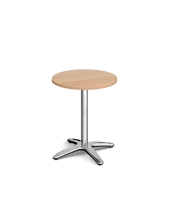 Roma circular dining table with 4 leg chrome base 600mm - beech - Furniture