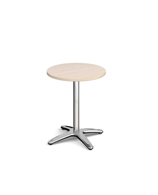 Roma circular dining table with 4 leg chrome base 600mm - maple - Furniture