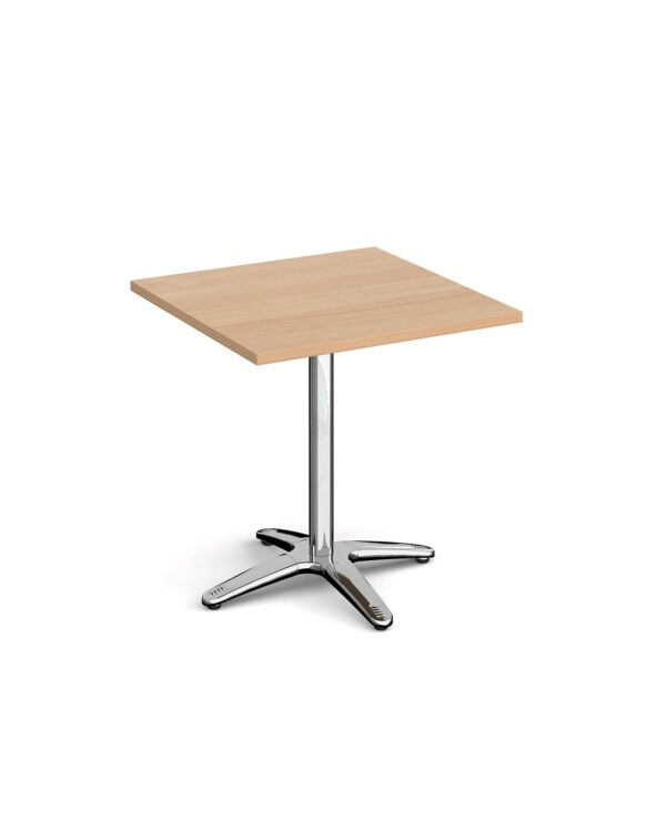 Roma square dining table with 4 leg chrome base 700mm - beech - Furniture
