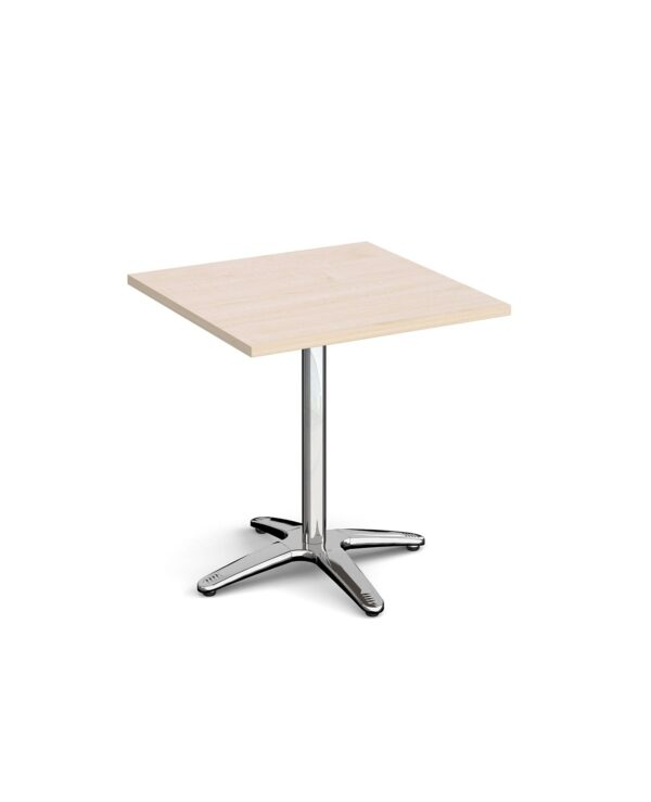 Roma square dining table with 4 leg chrome base 700mm - maple - Furniture