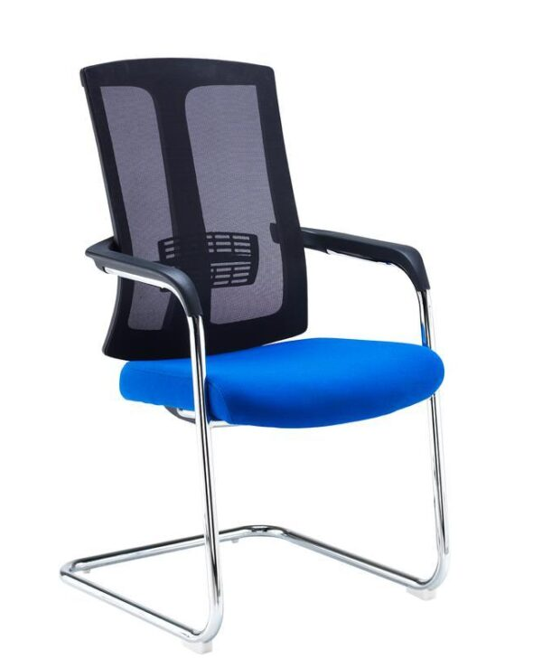 Ronan chrome cantilever frame conference chair with mesh back - blue - Furniture