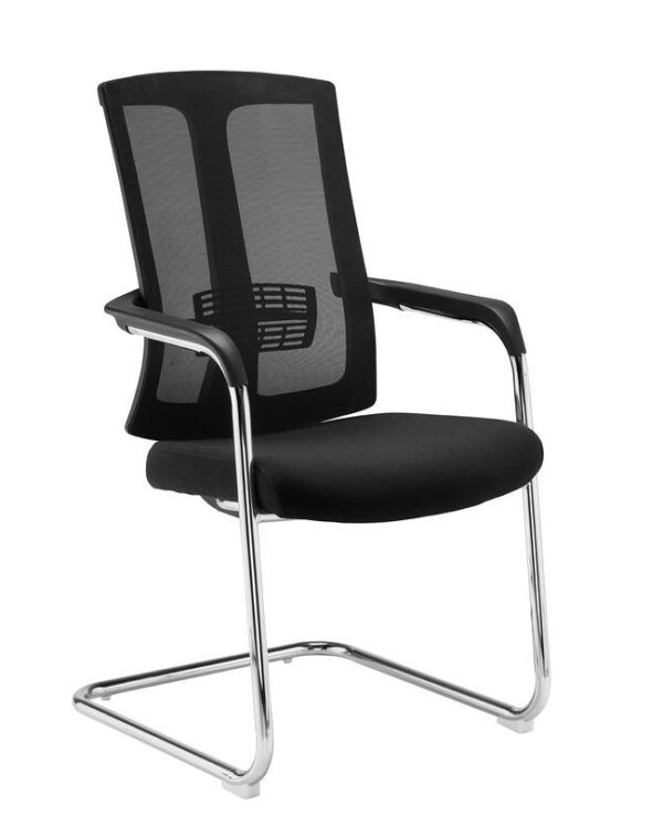 Ronan chrome cantilever frame conference chair with mesh back - black - Furniture