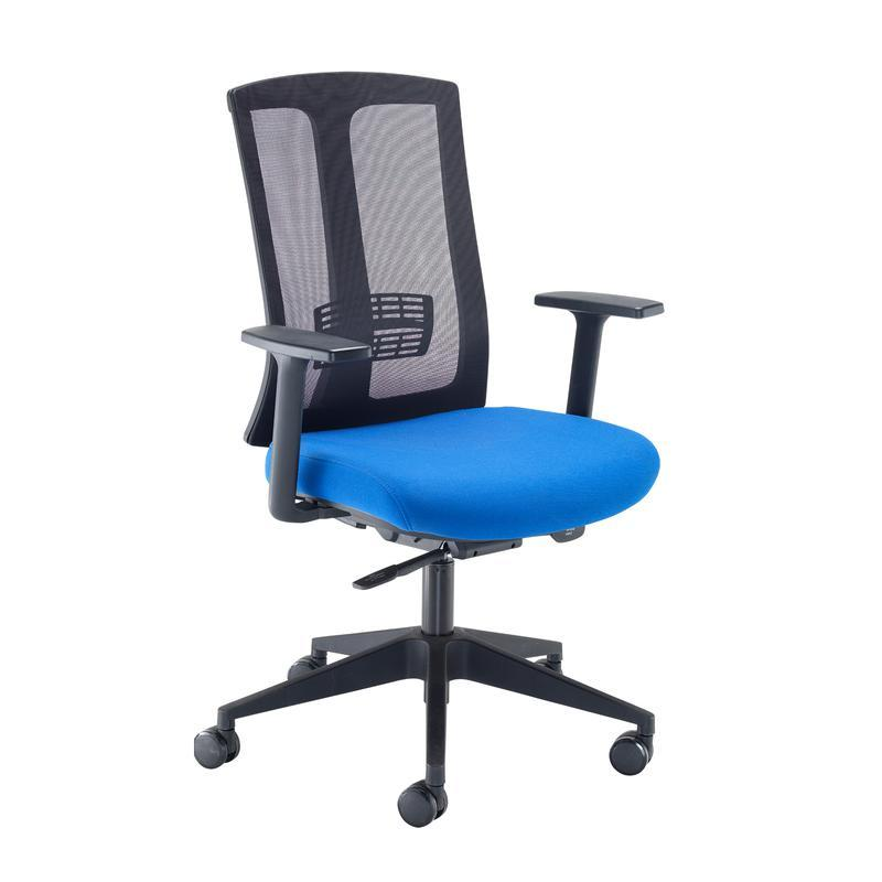 Ronan mesh back operators chair with fixed arms - blue - Furniture