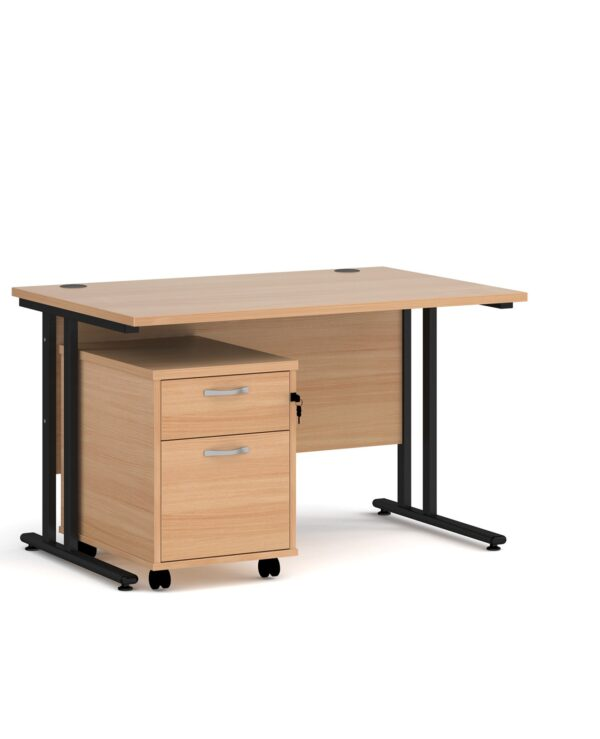 Maestro 25 straight desk 1200mm x 800mm with black cantilever frame and 2 drawer pedestal - beech - Furniture