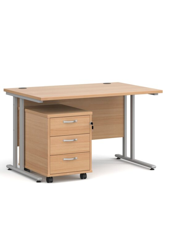 Maestro 25 straight desk 1200mm x 800mm with black cantilever frame and 3 drawer pedestal - beech - Furniture