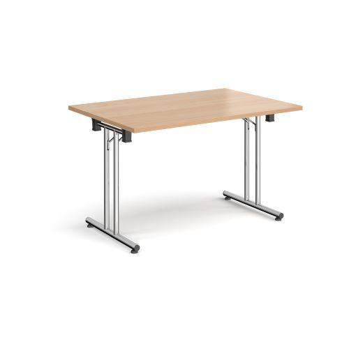 Rectangular folding leg table with chrome legs and straight foot rails 1200mm x 800mm - beech - Furniture