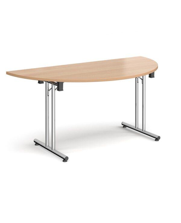 Semi circular folding leg table with chrome legs and straight foot rails 1600mm x 800mm - beech - Furniture