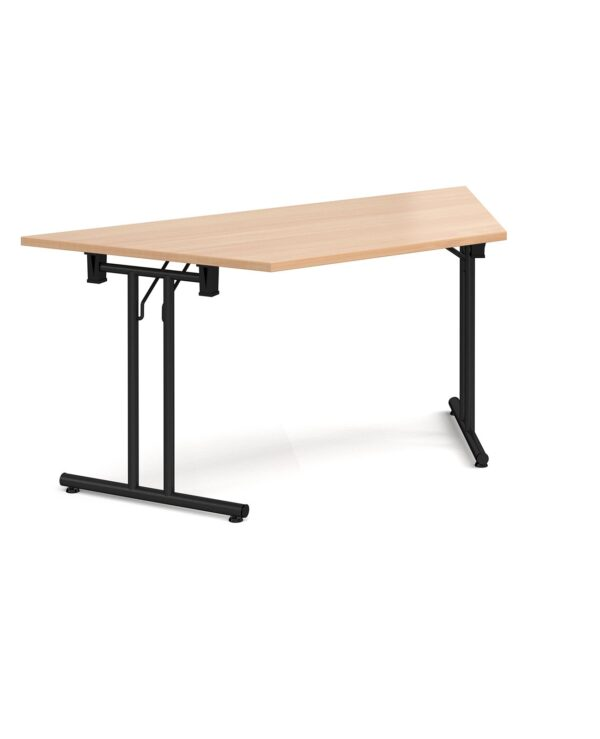 Trapezoidal folding leg table with chrome legs and straight foot rails 1600mm x 800mm - beech - Furniture