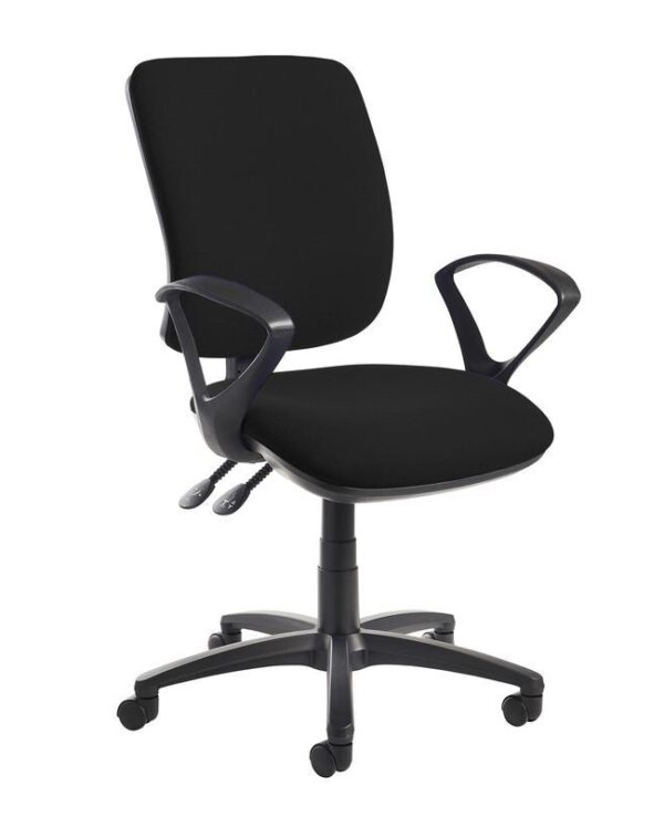 Senza high back operator chair with fixed arms - black - Furniture